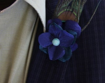 "Blue and Teal Silk and Suede Mix Floral Men's Lapel Pin with peacock feather and teal detail ""Dex"""