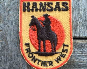 Kansas Frontier West Vintage Souvenir Travel Patch by Voyager