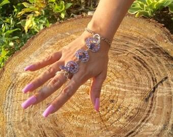 Purple Crystal Hand Chain, Slave Bracelet, Hand Chain, Hand Chain Bracelet, Hand Bracelet, Crystal Hand Chain Bracelet, Crystal Hand Jewelry