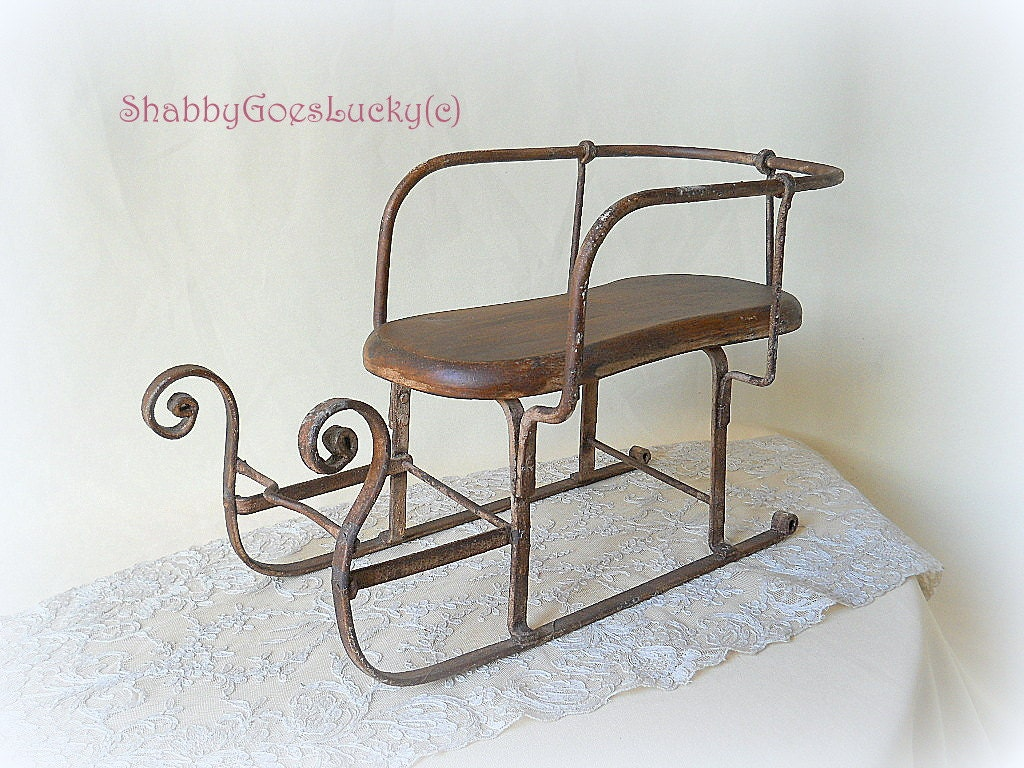 Old Iron Doll Sled Sleigh With Wooden Seat German Vintage