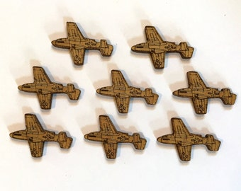 Laser Cut P-51D Mustang Charms - 8 Pieces