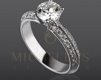 Round Cut Engagement Ring 1.4 Carat F VVS1 Diamond Women White Gold Setting With Side Accent Diamonds