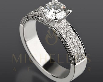 Diamond Ring 2.7 ct Women Solitaire Engagement Ring With Side Accents D SI2 Round Cut In 14K White Gold Setting
