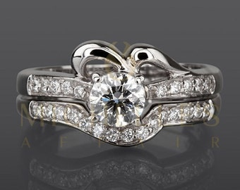 1.15 ct D VS2 White Gold Diamond Engagement Ring Set Round Cut Solitaire With Accents And Wedding Band For Women