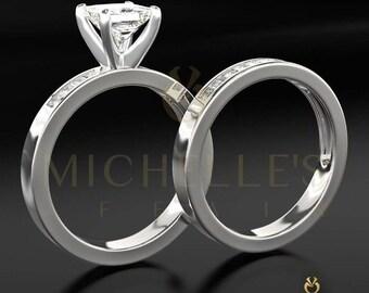 Women Diamond Rings Set 18K White Gold 1.90 Carat F VS1 Princess Cut Engagement Ring And Half Eternity Wedding Band
