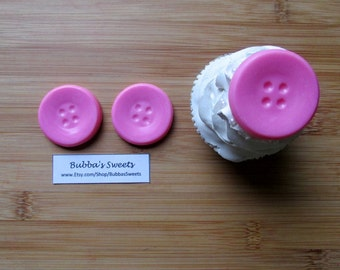 BUTTON Chocolate Cupcake TOPPERS - (24) Cake Toppers/Cute as a BUTTON/Baby Shower Favors