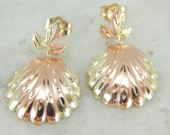 Yellow and Rose Gold Scallop Shell Stud Drop Earrings ZEE00R-R