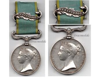 Great Britain British Medal 1854 1856 Crimea clasp Sebastopol Military Decoration Queen Victoria unnamed Russia France Turkey Sardinia