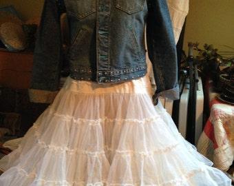 White Square Dance Petticoat HUGE 80 yard vintage soft Crinoline Petticoat, Shimmery