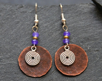 Spiral earrings, Copper and purple Jade earrings, Rustic ethnic jewelry, Hammered copper, Mixed metal dangle earrings, Gift for women, 1122