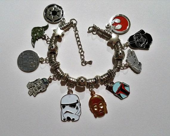 classic star wars charm bracelet with rebel alliance logo