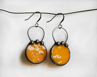 Pumpkin color earrings, Fall Colors, Orange Autumn Jewelry, Stained Glass Unique, Autumn fashion, Halloween Earrings