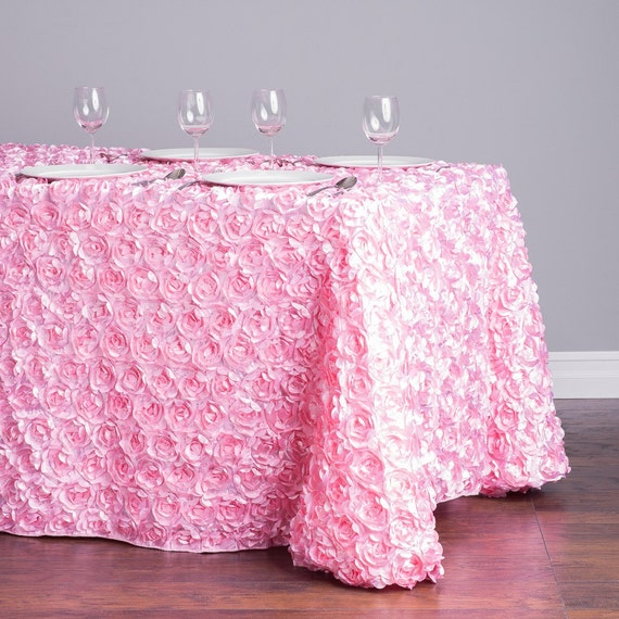 8 ft blush pink rosette table cloth 90x156 by sparklesoiree. Black Bedroom Furniture Sets. Home Design Ideas