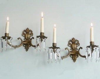 Pair of Vintage French Candle Sconces with Crystal Adornments