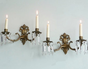 Pair of Vintage French Candle Sconces Candelabra with Crystal Adornments