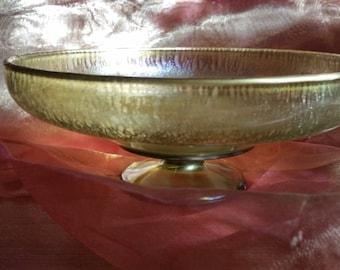Pedestal Bowl Green Iridescent Gilded Glass Mid Century Vintage