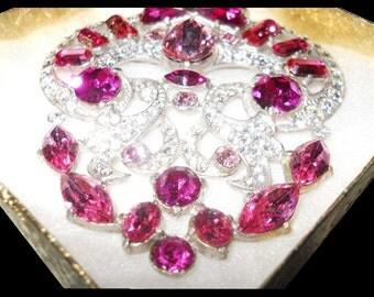 Sale VINTAGE STARET Brooch PRISTINE Shocking Pink & Clear Stones Extraordinary Signed