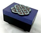 Celtic Knot stash box - polymer clay and wood trinket box