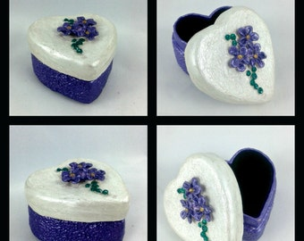 Heart Trinket box with violets ~ polymer clay box