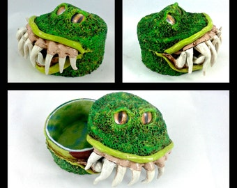 Bright Green Creature Box - polymer clay monster box
