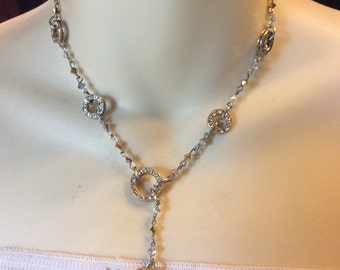 Vintage signed Crystalare rhinestone rondelles crystal necklace .