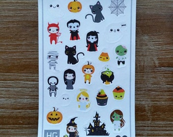 Kawaii Halloween Planner Stickers - S001