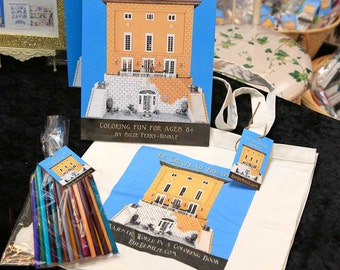 French Coloring Book gift pack - Le Chateau Bidaine - Matching totebag and assorted colored pencils - Mini Cavalier King Charles spaniels