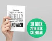 Sale 2016 30 Rock Calendar, Typography Calendar, Typography Calendar, Desk Calendar, Monthly Calendar, TV Calendar