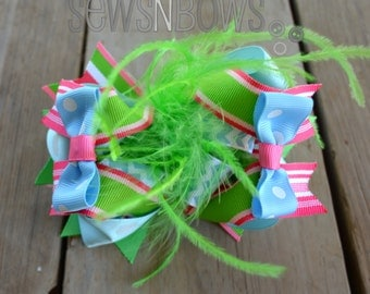 Funky Colorful Maribou Bow