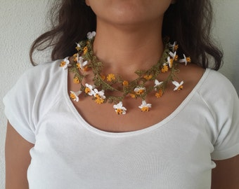 Multicolor Lariat With Grey Strand - Crochet flower necklace - Crochet oya lace - Turkish Crochet Lace - Turkish Oya-handmade daisy