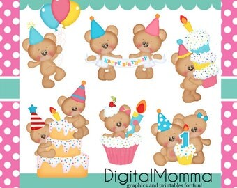 Happy Birthday Twins Clipart, First Birthday Clipart, Cupcake Clipart, Personal, Commercial Use, Instant Download!