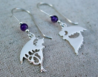 Angel and Devil Earrings, Sterling Silver with Amethyst