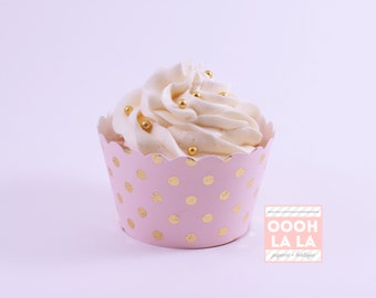 Light Pink Cupcake Wrappers/Holders with foiled polka dots - Set of 6 or 12