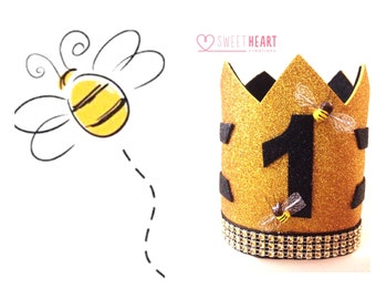Bumble Bee Birthday Crown, bumble bee party hat, bumble bee birthday, bumble bee cake smash, first birthday crown