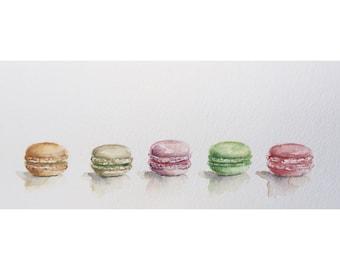 Macarons - kitchen art - original watercolor painting - kitchen painting - origina art