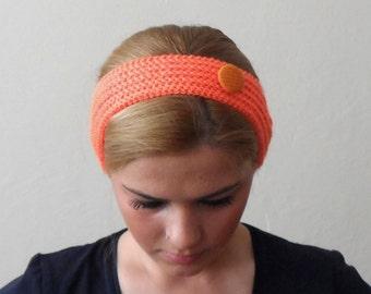 orange knitted headband  buttons orange hair bands knit headband