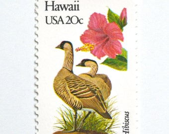 10 Unused Hawaii Vintage Postage Stamps // Hibiscus Stamps // Hawaiian State Bird and State Flower // Beach Wedding Postage