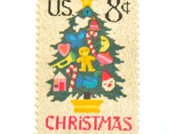 10 Unused Vintage Christmas Postage Stamps // Cross Stitch Christmas Tree // 8 Cent Vintage Needlepoint Holiday Stamps