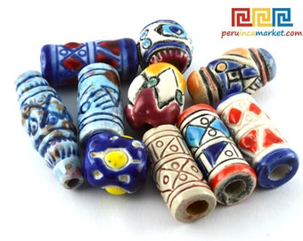 10 Peruvian ENGRAVED CARVED TEXTURED ceramic beads 12 mm x 20 mm