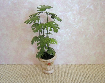 Dollhouse miniature Swiss Cheese plant