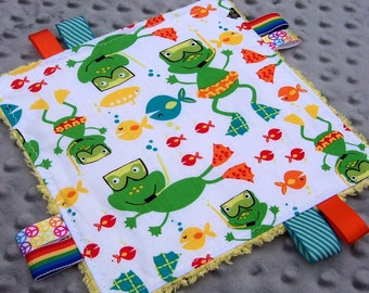Scuba Frogs Sensory Toy: mini lovey, swimming frogs crinkle tag toy, chenille lovie, frogs and fish ribbon baby toy