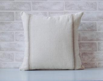 Farmhouse fabric, decorative pillow cover, tan stripes, grain sack pillow cover, home decor, french farmhouse, country, livingroom decor