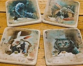 Set of 4 Vintage Style Alice in Wonderland Coasters Gift Home