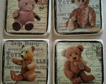 Set of 4 Vintage Style Teddy Bear Coasters