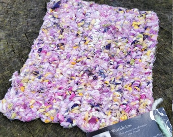 Crochet Hot Pad with Hand-spun Rag Yarn