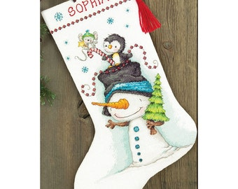 "Counted Cross Stitch CHRISTMAS Stocking JOLLY Trio Dimensions Kit 16"" Long -Free US Shipping!!!"