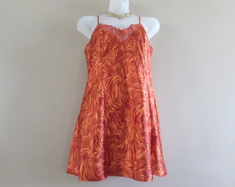 Vintage Victorias Secret Orange Tiger Stripe Slip || Size Small