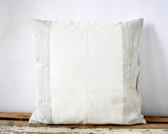 Pillow Case - Natural White with Black Stripes Print - Screen Printed Cotton - Creme Decorative Throw Pillow Cover - 40 x 40 cm - Buttons