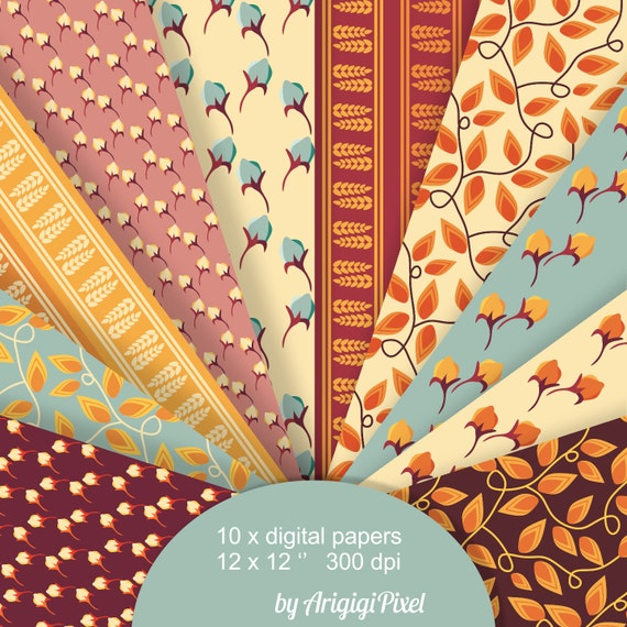 Floral Digital Papers - Fall Harvest - scrapbooking papers - download