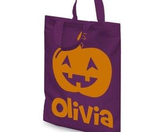Personalised Halloween pumpkin trick or treat mini tote bag